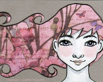 Sofia - Mixed media miniature art card - Original ACEO girl with blue eyes and pink hair - acrylic ink drawing from norwegian artist