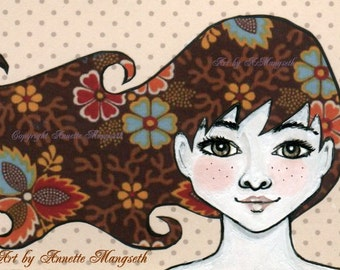 Joanne - Original ACEO illustration - Miniature art card - Mixed media original girl with green eyes and flower hair
