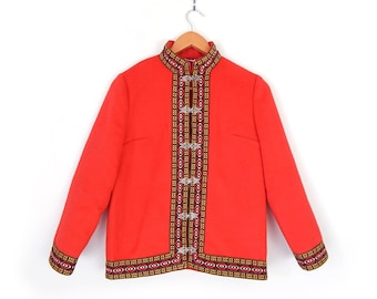 Vintage 60s Embroidered Red Wool Danico Women's Jacket - Small - Nordic Folk Style Felted Wool Melton Coat With Traditional Embroidery Trim