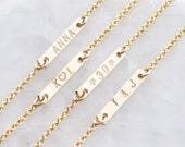 Engraved small bar bracelet - tiny bar bracelet - chain bracelet - minimalist jewelry - delicate jewelry - Personalized Dash Bracelet