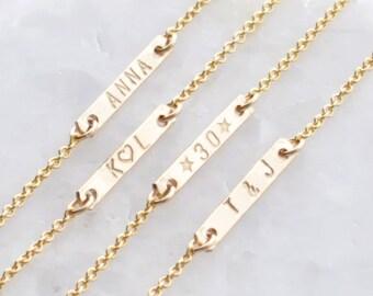 Engraved bar bracelet - tiny bar bracelet - small chain bracelet - minimalist jewelry - delicate jewelry - Personalized Dash Bracelet