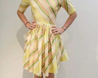 1950's I.Magnin Yellow Stripe Dress