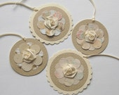 Ivory Gift Tags, Flower Gift Tags, Gift Tag Set, Beige Gift Tags, All Occasion Tags, Mother's Day, Wedding Shower, Handmade Tags