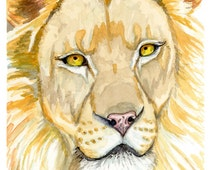 "Lion Watercolor Painting Art Print, Wall Decor sizes 5""x7"", 8""x10"", 11""x14"""