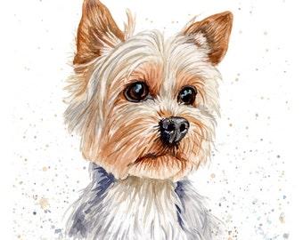 "Custom Pet Portrait 8"" x 10"" Original Watercolor"