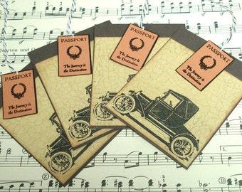 Set of 4 Vintage CAR Tags - Vintage Autos Lesezeichen - Vintage Auto Anhänger - Vintage Car Tags
