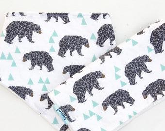 Baby bib and boy burp cloth set - boy bib and burp cloth set - bandana bib burp cloth set - baby shower gift set - bear bib - bib - Finney
