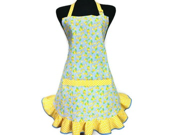 Retro Style Lemon Print Apron with Ruffle,  Blue and Yellow Kitchen Decor