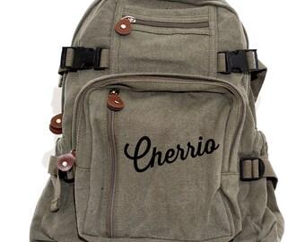 Backpack, Cherrio, Canvas Backpack, School Backpack, Laptop, English Gift, Girls Backpack, Travel Rucksack, Diaper Bag, Men Backpack
