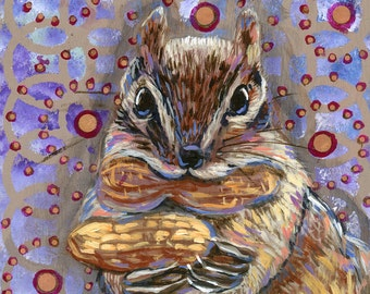 """6x6 inch Archival Print on Wood  """"Hungry Chipmunk"""""""