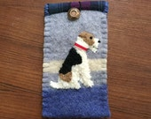 RESERVED Wire Fox Terrier Dog Eyeglass / Sunglasses Case, Vintage Wool lined with Cotton Flannel
