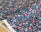 Japanese Fabric Floral Garden - cotton lawn  - navy blue - 50cm