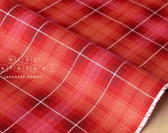 Japanese Fabric Kokka Tsumiki reversible tartan canvas - bright red - 50cm