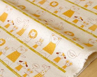 Japanese Fabric Kokka Trefle Petite Ecole Excerise - yellow - fat quarter