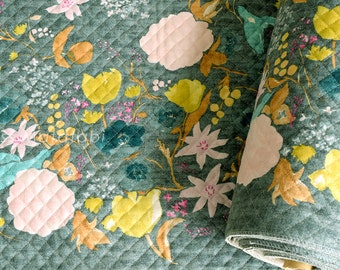 Japanese Fabric Nani Iro Fuccra : rakuen AW quilted brushed cotton - C - 50cm
