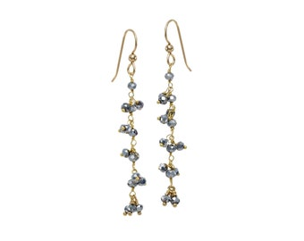 Mystic Pyrite Cluster in Gold Plate Drop Earrings