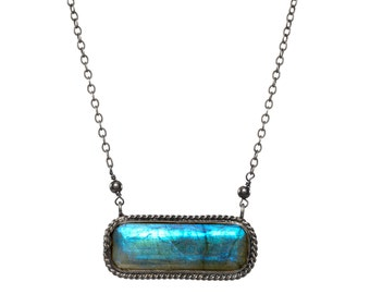 Double Bezeled Labradorite Pendant Necklace in Oxidized Sterling Silver