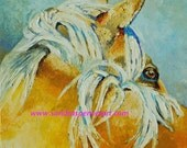 "Original Palomino Horse Oil Painting 12""X12"" painted by knife"