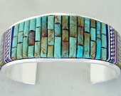 Sale: Sterling Silver Turquoise Inlay Bracelet