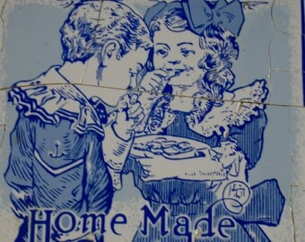 Mosaic Tiles Pieces Boy Girl Cobalt Blue White Kitchen Tile Pieces Watkins co. 1912 Home Made  Candies.