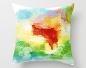 Watercolor Pillow, Throw Pillow Cover,  Yellow And Orange, Green And Yellow, Abstract Art Pillow, Abstract Pillow, Throw Pillow, Modern Art