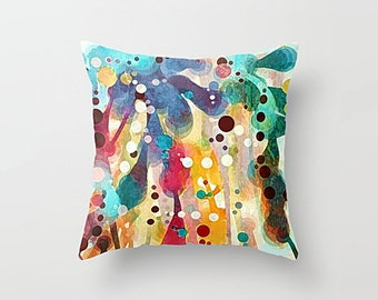 Abstract Art Throw Pillow Cover: Mulberry Jane