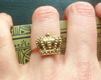Crown Ring Queen Princess Royalty Antiqued Brass Ring