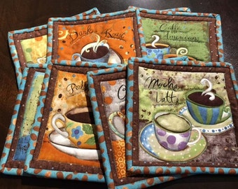 Coffee Time Mug Rugs - Quilted Set of 2