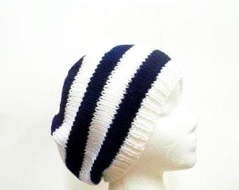 Navy Blue White Stripes Beanie knitted  5227