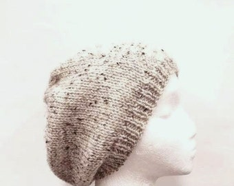 Beanie hand knitted tan with dark flecks for men or women   4933
