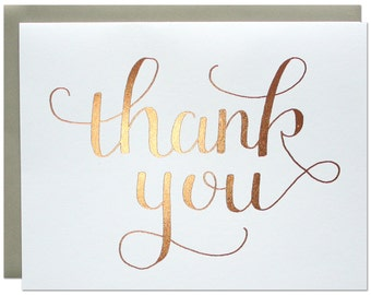 Thank You Card / Greeting Card with Rose Gold Foil Stamped Calligraphy / Blank Inside with Gray Envelope