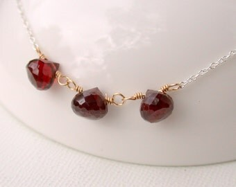 Garnet Necklace. Birthstone Necklace. January Birthstone Necklace. Gemstone Necklace. Birthstone Necklace.