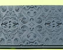 TRIBAL SWIRLS  Clay Texture Imprint, Rubber Stamp Mat Inks Paint  TTL306