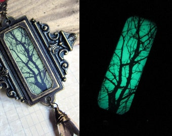Witchlight - Glow in the Dark Spooky Halloween Tree Medallion Necklace in Antique Brass