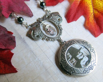 A Witches' Tea Party - Locket Necklace with Hematite and Lepidocrocite in Antique Silver