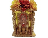 Mexican Wooden Nicho//Ofrenda Decor//Dia de los Muertos//Day of the Dead//Upcycled Wooden Mexican Decoration