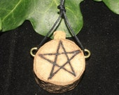 English Oak Pentagram Spell Bottle Pendant - For Strength & Courage - Pagan, Wicca, Witchcraft, Pentacle