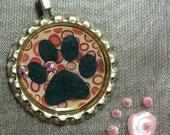 Dog paw bottlecap pendant