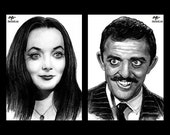 "Prints 5x7"" - Morticia and Gomez Addams - The Addams Family Wednesday Classic Dark Art Comedy TV Horror Gothic Mustache Lurch Halloween"