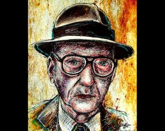 "Print 8x10"" - William S Burroughs - Naked Lunch Cyberpunk Glasses Drugs Science Fiction Needle Junkie Hipster Nerd Pop Art Gun Beatnik"