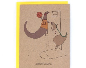 Humorous Lebron James Cleveland Cavs Basketball Dunk Dinosaur Greeting Card