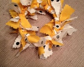 Handmade Gold White Black Fabric Christmas Wreath Ornaments or Your Choice of Colors - Made to Order - Team Colors - NFL - Collegiate