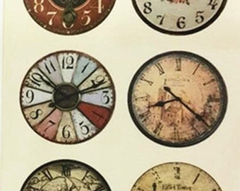 5 Sheets of 6 Pre-printed Vintage Images collage sheet 25mm circle clock design for cabochon-8516n