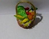 Realistic food Miniature Basket FULL of Fresh Fruit and vegetable Dolls House Miniature Food diorama ooak art PR# 3790