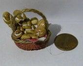 Realistic food Miniature Basket FULL of Fresh breads basket Dolls House Miniature Food diorama ooak art PR# 3790