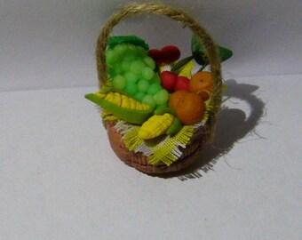 Dollhouse miniature Realistic food Miniature Basket FULL of Fresh Fruit and vegetable Dolls House Miniature Food diorama ooak art PR# 3790