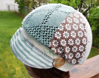 Small medium Jax Hats, Brown and seafoam suit hat, upcycled hat, recycled clothing hat, chemo hat, newsboy cap, flapper, seafoam & brown hat