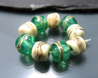 Handmade Lampwork Nugget Beads by GlassBeadArt … On the beach  ... SRA F12 ... 9x12mm