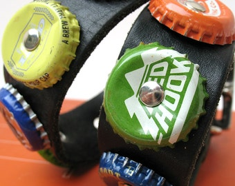 Black Leather Dog Collar with Colorful Beer Bottle Caps, Size Large, to fit a 18- 21in Neck, EcoFriendly, Reclaimed, OOAK