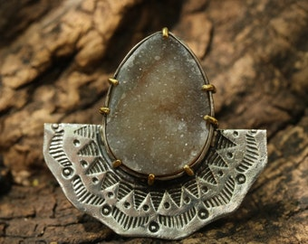 Silver fan ring with teardrop druzy gemstone and texture and oxidized silver